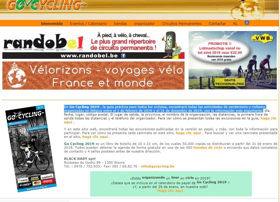 GO CICLYNG En Go Cycling 2019 , la guía práctica para todos los ciclistas, encontrará todas las actividades de senderismo y ciclismo organizadas en Bélgica entre el 1 de febrero de 2019 y el 31 de diciembre de 2019, con la información más importante: