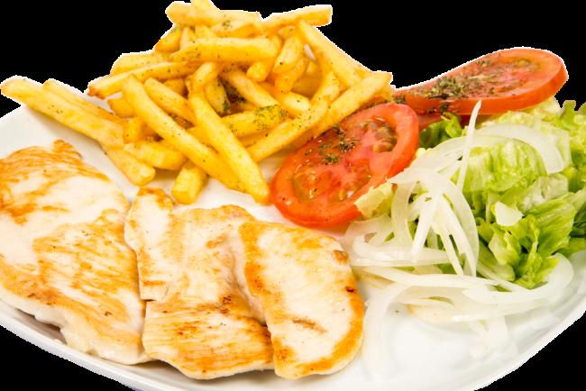 pollo plancha con patatas y ensalada